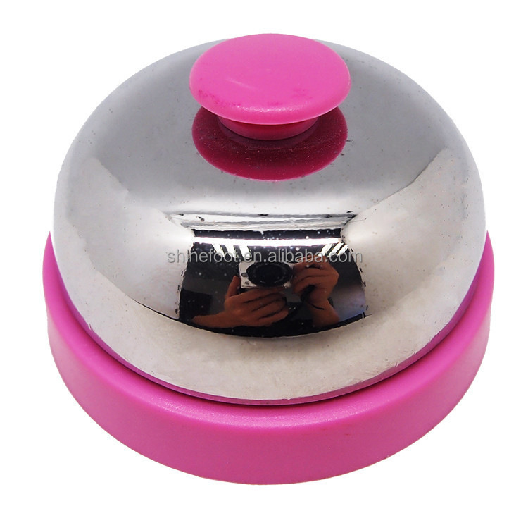 Table call bell in silver plated cover with colorful painted plastic base
