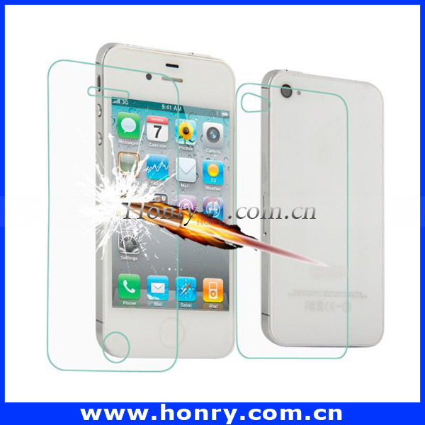 For iphone 4 bulk wholesale beauty supplies 2 in 1 tempered grass screen protector