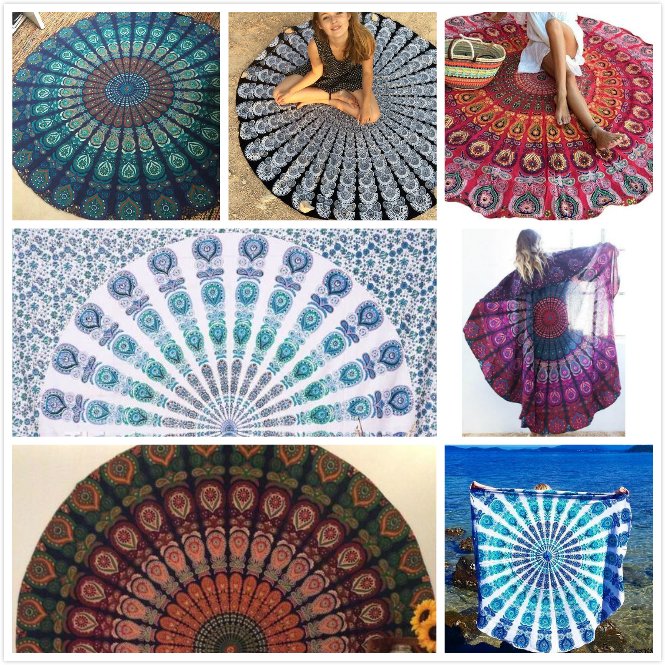Wall Hanging Round Happy Boho Polyester Tablecloth Towels Blanket Indian Throw Yoga Mat Beach Mandala Tapestry