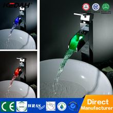 New design brass square bath led mixer taps waterfall faucet for washroom sink