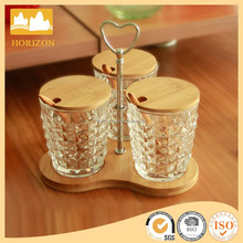 Hand Made High Quality Glass Candy Jars Set With Wood lid