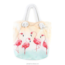 2018wholesale large capacity flamingo pattern beach tote bag with rope handle for woman shopping