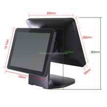 High Quality 2 screen POS system Capacitive Touch 15 inch pos machine windows/android OS POS Terminal