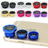 universal clip 3 IN 1 mobile phone camera lens factory price 0.67x Wide angle / fisheye 180 / macro selfie lens