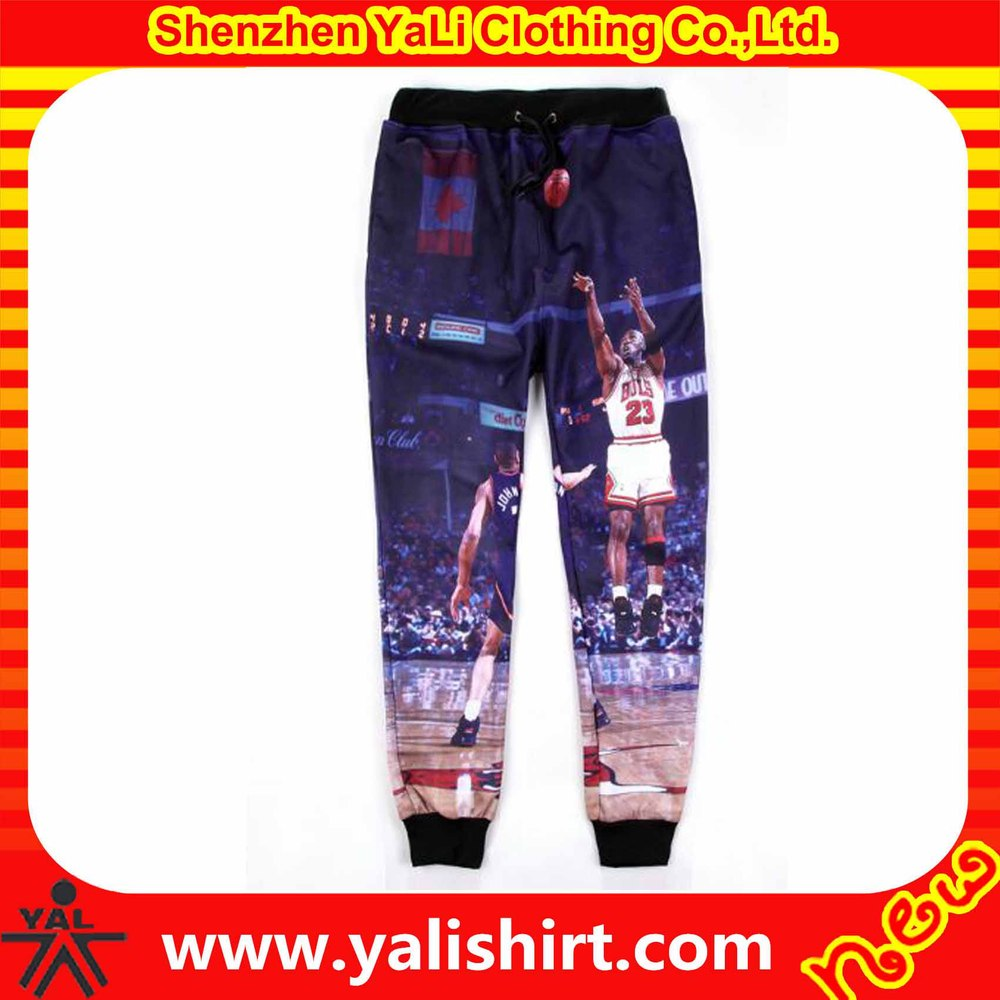 Custom high quality dri fit drawstring cotton/polyester jersey allover sublimation sportwear men joggers