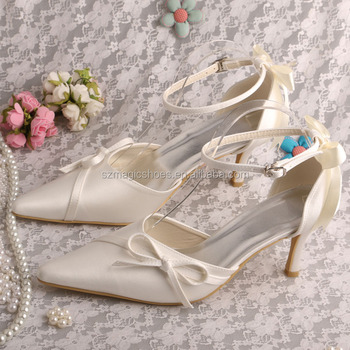 Evening Prom Shoes Ivory Satin