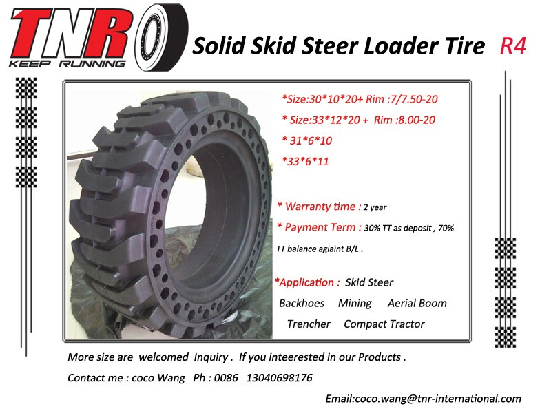 Tire Manufacture of solid pneumatic skid steer loader tire used for wheel rim 10-16.5