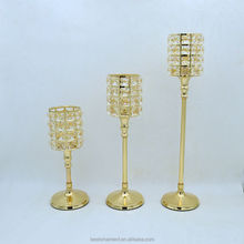 Gold candle holder crystal made in china for weddings decorations