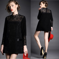 High quality hot fix woman apparel long sleeve black lace collar dress china supplier