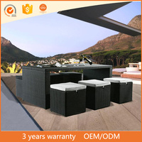 American style natural color round wicker luxury outdoor bar/dining set home goods patio furniture