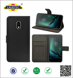New Arrival Genuine Leather Flip Wallet Case for Lenovo Moto G4 play