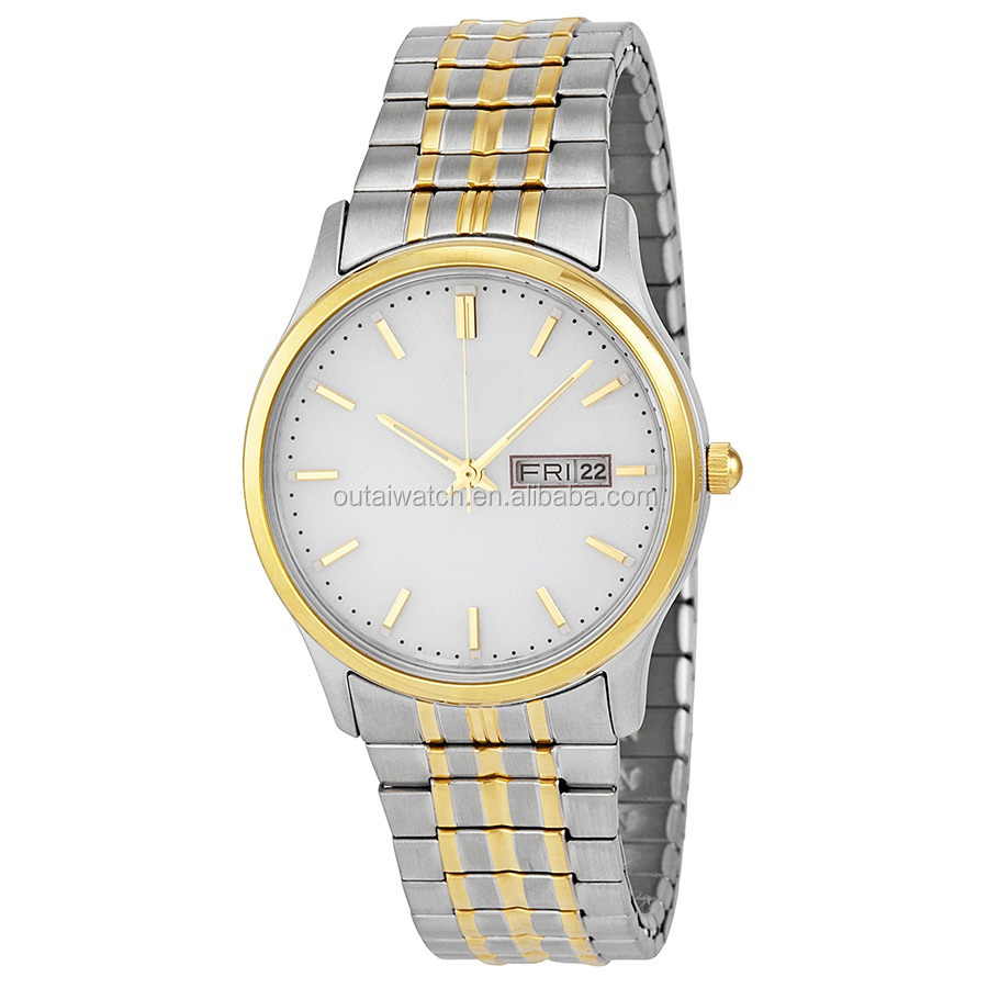 2 tones gold watch for men with japan movement in stainless steel