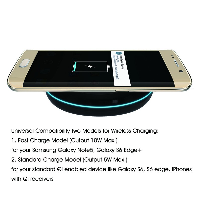 Qi standard mini portable designed for samsung galaxy s6 edge+ wireless charger