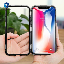 New Arrival Fully Protecting for iPhone X 8 7 Magnetic Bumper Glass Metal Case