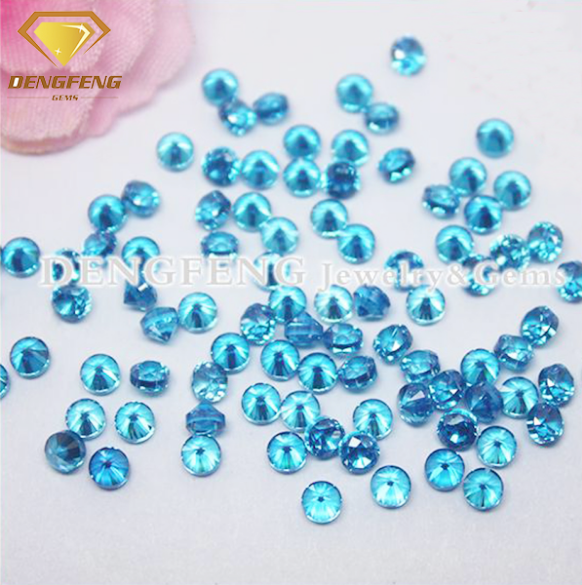 High Quality Round Brilliant Cut Aquamarine CZ 10% Thick Jewelry Making Cubic Zirconia Round Stone
