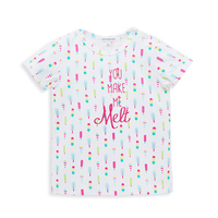 Short Sleeve Flower Ice Cream Printing Baby Girl Tshirt