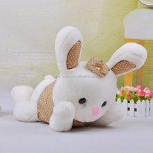 wholesale /customize China toy factory peluches toy cheap giant rabbit with bow for sale