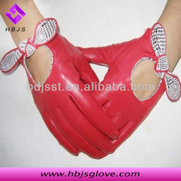 2013 fashion lady bowknot backless joker in leather gloves