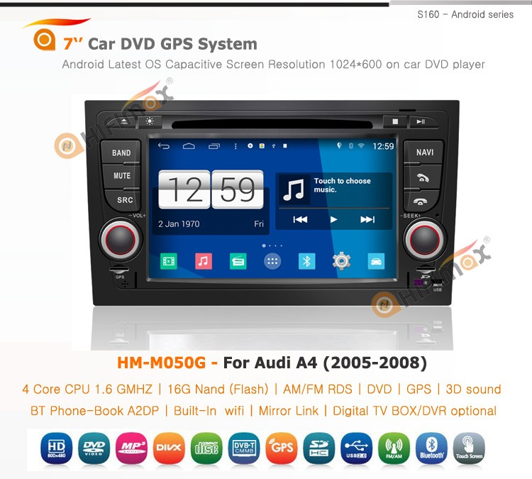 Hifimax Android 4.4.4 GPS System For Audi A4 b6(2002-2008) Wholesale Price For Audi S4 Sport /RS4 Racing Sport 2002-2007 Display