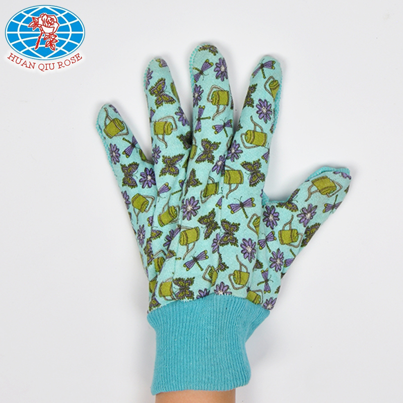colored garden PVC dotted sewing work safety glove