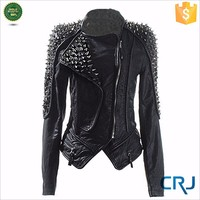 SEXY leather JACKET FOR WOMEN MOTORCYCLE LEATHER JACKET WITH RIVET