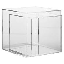waterfall lucite sofa storage side table with drawer