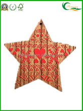 2015 Fashion Handmade Hanging Wood Star Shapes Crafts Wooden Christmas Ornaments