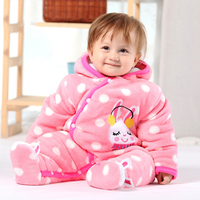2015 Winter Romper Baby White Dot Pink Rabbit Thick Winter Quilted Hoodie Cotton Jumpsuit Kids Footed Romper