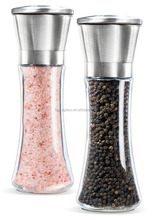 Higher clear glass bottle, Custom Premium salt and pepper mill Stainless Steel and Glass Salt and Pepper Grinder Set
