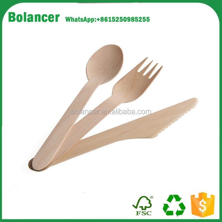wooden disposable knives forks spoons dessert tableware cutlery
