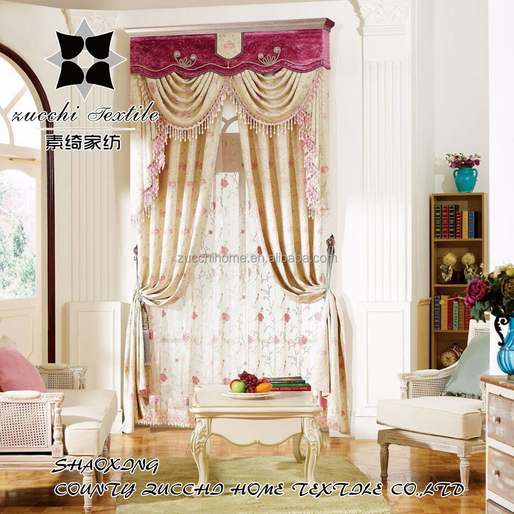 100% polyester new jacquard fabric beaded curtain valance