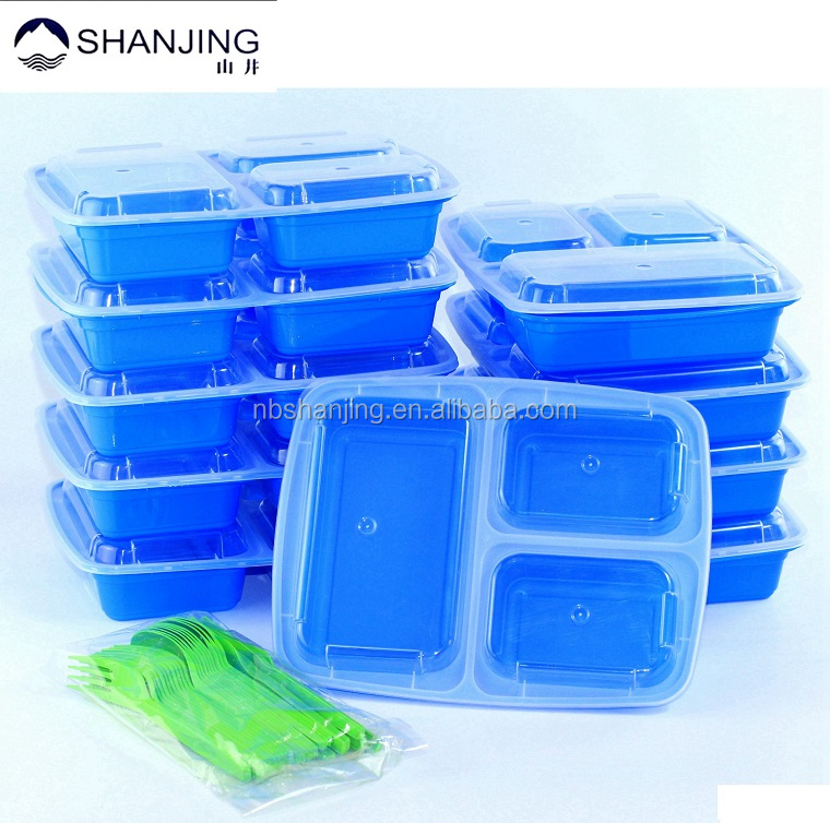Meal Prep 3 Compartment Containers with Lids for Portion Control, Stackable, Microwave, Dishwasher Safe