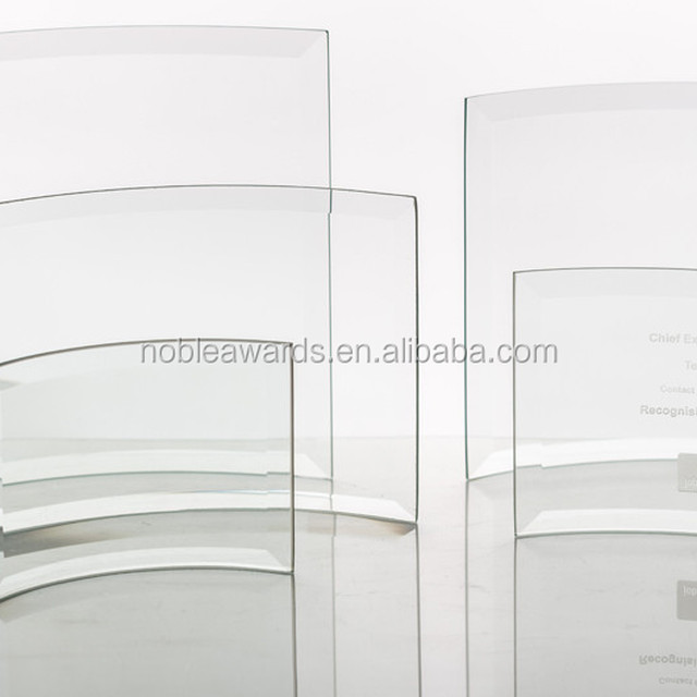 Wholesale Custom Engraved Blank Curved Screen Crystal Glass Plaques Award