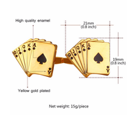 High Quality Gold Plated Metal Enamel Cuff Links Poker Cufflinks