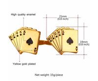 High Quality Gold Plated Metal Enamel Cuff Links Poker Cufflinks