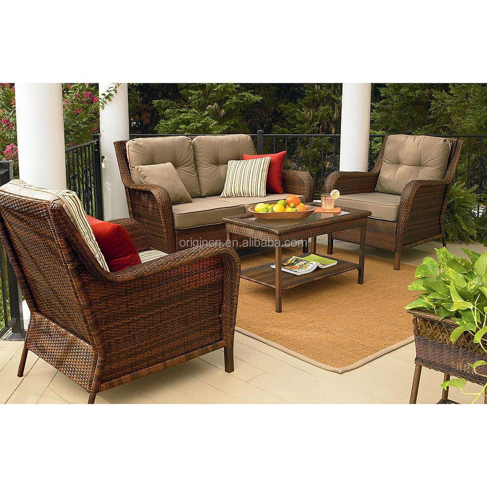 European style 4pc wicker balcony sofa set with loveseat for Outdoor furniture europe