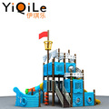Pirate ship design kids plastic slide for kids outdoor playground park