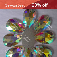 gift boxes decoration sew-on shiny crystal glass beads tear drop shape 10.5*18 flat back crystal beads