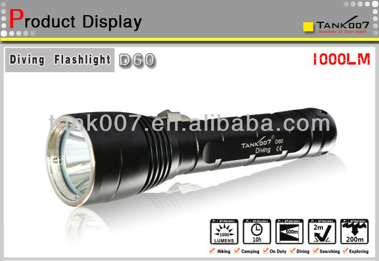 200 Meters Rechargeable rechargeable led diving torch TANK007 D60