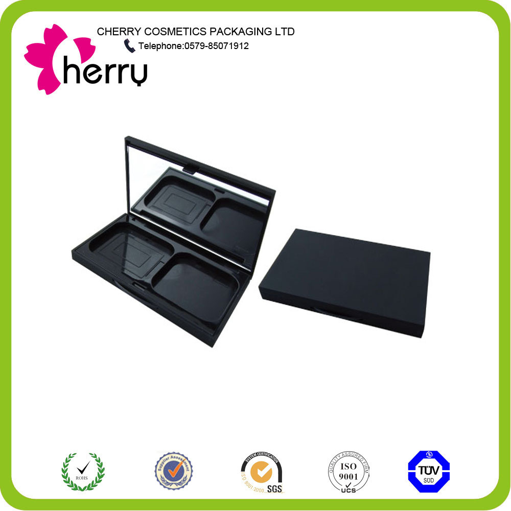 Black cosmetic compact plastic container packaging