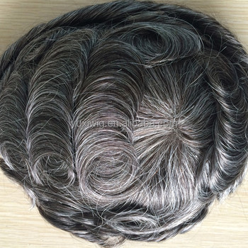fast shipping in 3-5 days mens toupee, 1b# with grey hair mix size 8x10.