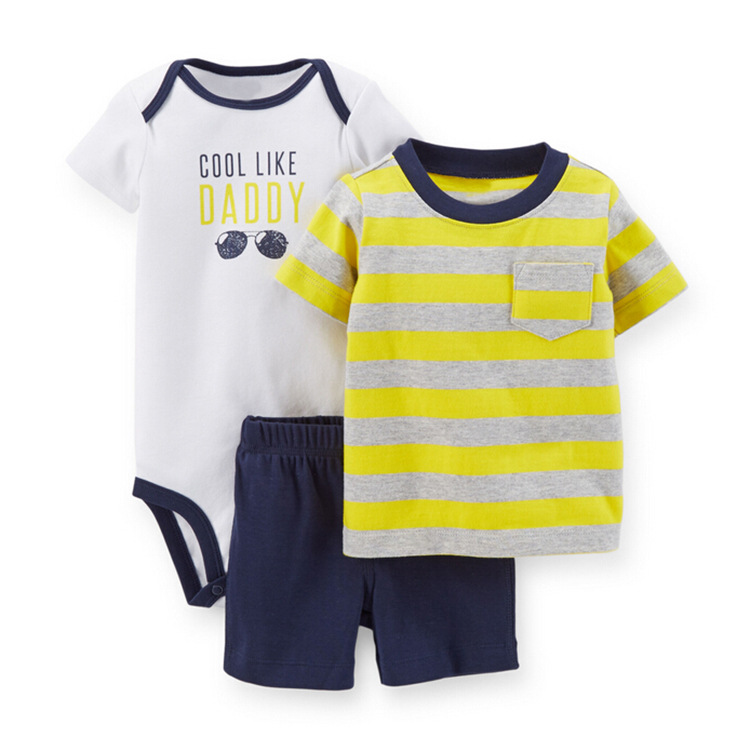 Quality infant boys girls 3pcs pajamas set europe newborn autumn outfits cute baby suits