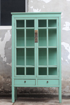 Chinese antique furniture classic glass solid wood Cabinet