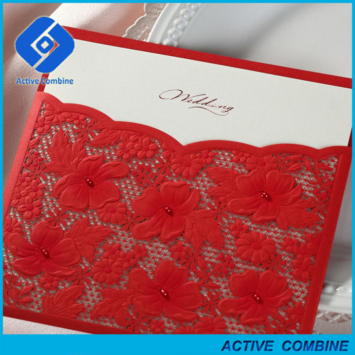 Modern Red Color Laser Cut Wedding Invitations Cards with Beads Decor