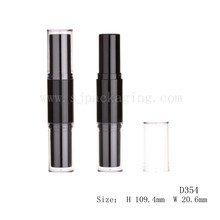 double end lipstick case with clear cap plastic luxury cosmetic packaging