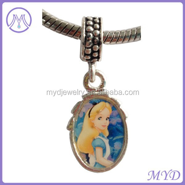 custom oval shaped Princess metal photo beads for European charms bracelet