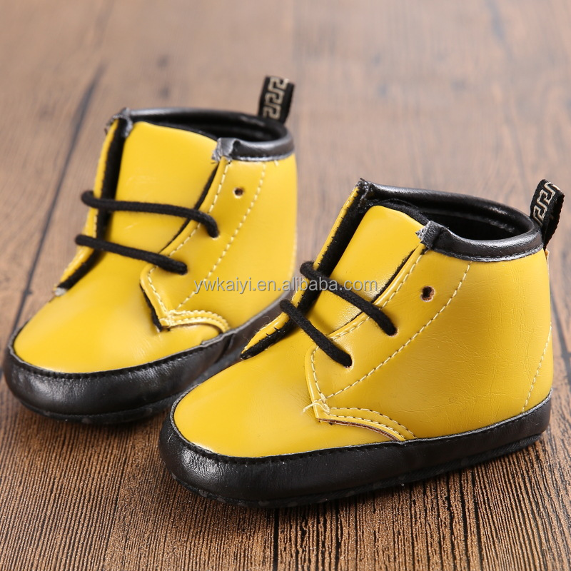 Latest fashion infant baby shoes genuine leather yellow color kids shoes wholesale