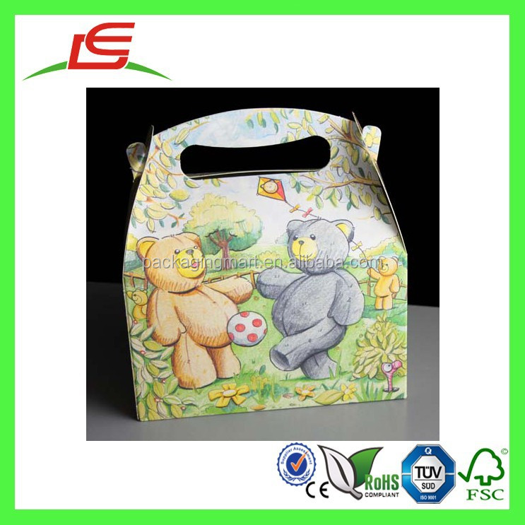 E0164 New Design Colored Teddy Bears Paper Kids Party Box With Handle, Lunch Meal Paper Box Wholesale In China