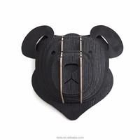 Wooden Teddy Bear Animal Trophy Head 3D Wall Art Kids Home Decor