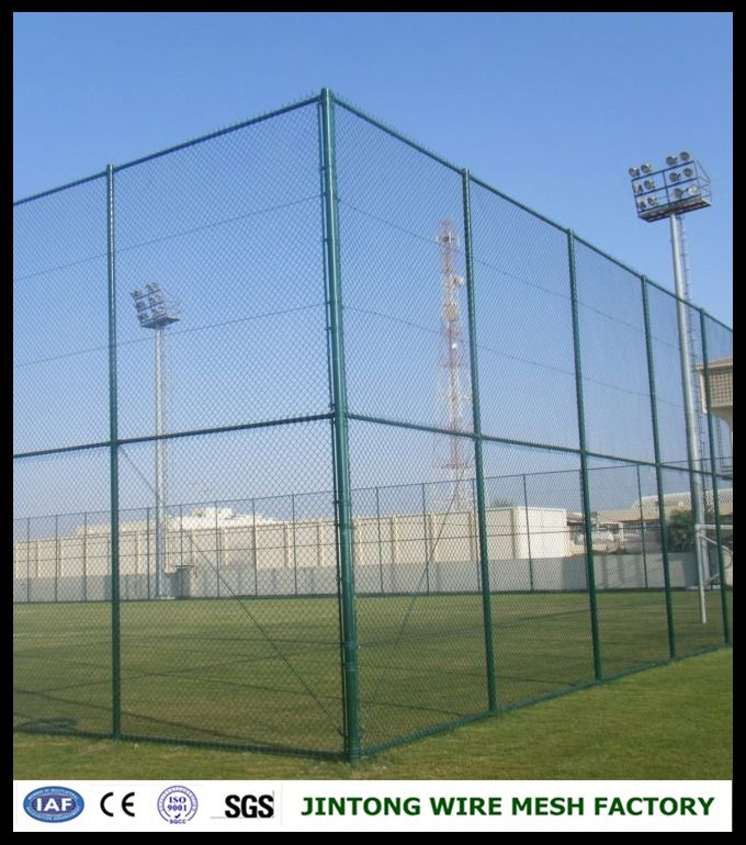 Green PVC coated Basketball/Football diamond wire mesh fence/chain link fence netting